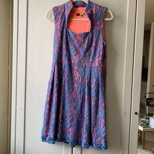 powder blue & neon pink eva franco dress